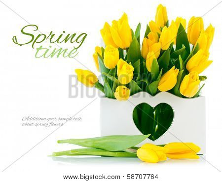 spring yellow tulips in wooden basket isolated on black background