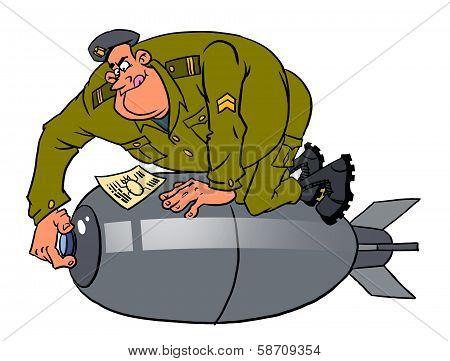 Cartoon Instructor And Cadet