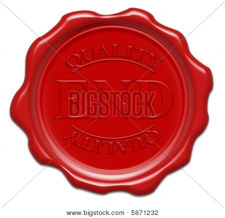 Quality End - Illustration Red Wax Seal Isolated On White Background With Word : End