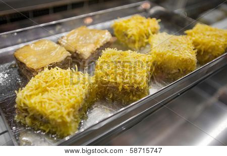 Traditional Bosnian cakes on silver tray.