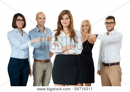 Team Of Young Business People Mobbing Bullying Collegue