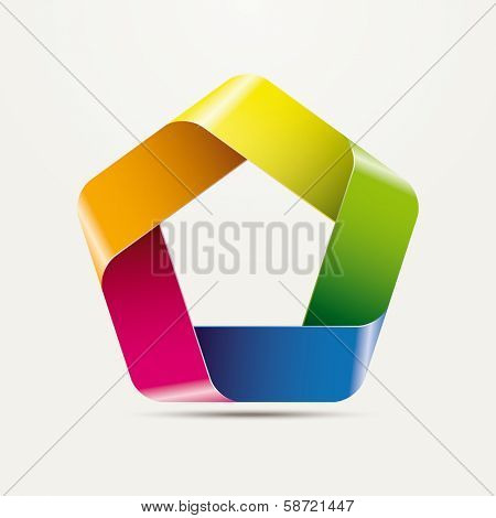 Three-dimensional Pentagon Infinite Ribbon Vector Element, multicolored