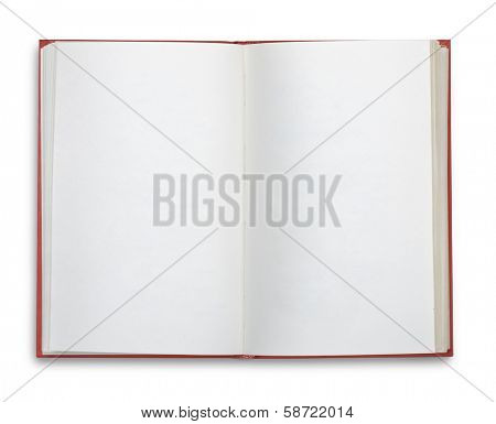 Open blank book isolated on white