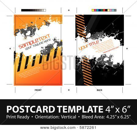 Splatter Hazard Stripe Postcard Template