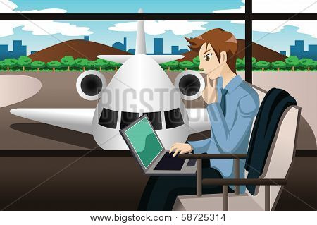 Business Traveler Waiting In The Airport