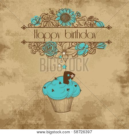 Vintage birthday party card, old paper background, floral frame and cupcake