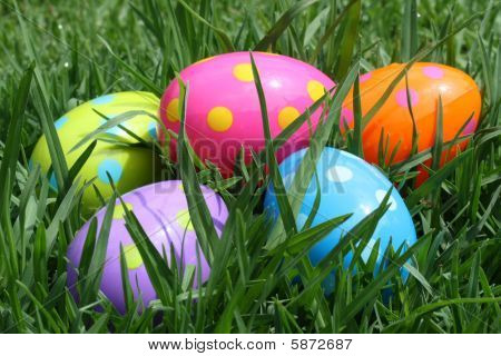 Five Multicoloured Easter Eggs