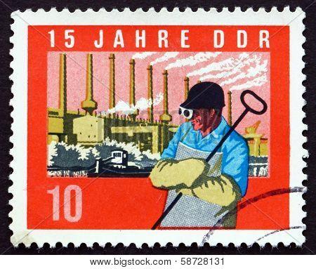 Postage Stamp Gdr 1964 Steel Worker, Factory