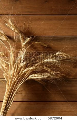 Ear Golden Wheat Spike Over Wooden Background