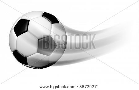 Soccer ball in motion isolated on white background