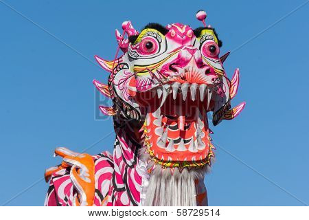 Chinese Dragon During Golden Dragon Parede.