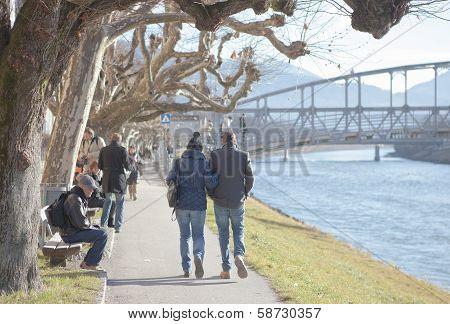 Strolling People In Salzburg