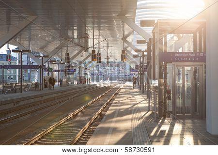 Railwaystation In Salzburg On Evening