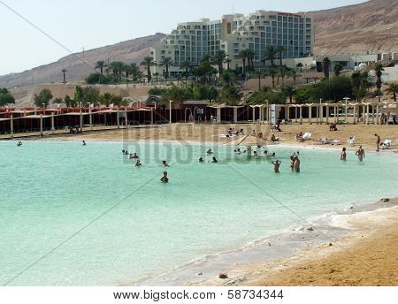 People Floating At The Dead Sea, Israel
