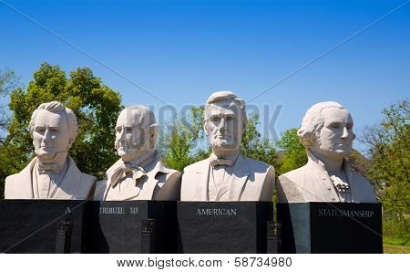 HOUSTON, TEXAS - MARCH 23: Mount Rush Hour in Texas by Sculptor David Adickes with busts of George Washington, Abraham Lincoln, Sam Houston and Stephen Austin on the I-45 of Houston, March 23, 2013.
