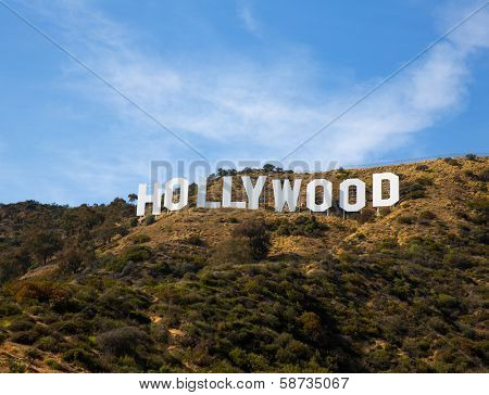HOLLYWOOD CALIFORNIA - APRIL 12, 2013: Located in Hollywood Hills at Mount Lee is the world famous landmark Hollywood Sign in Los Angeles, California on April 12, 2013. Some antennas digital deleted.