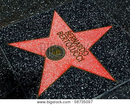 HOLLYWOOD, CALIFORNIA - APRIL 12, 2013:Bernardo Bertolucci Star on Hollywood Walk of Fame in Hollywood California on April 2013. One of the 2400 celebrity stars located on Hollywood Boulevard.