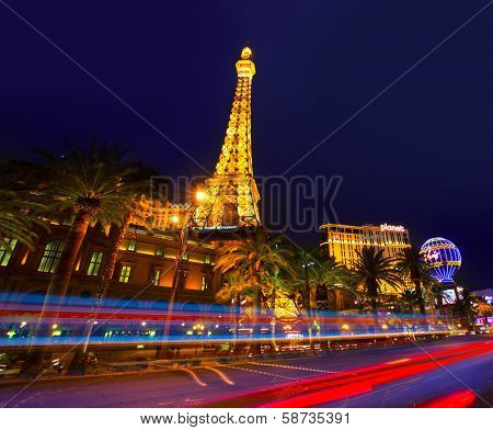 LAS VEGAS - APRIL 17, 2013: the Paris Las Vegas hotel and casino night view in the famous Strip with night lights in Las Vegas, Nevada, April 17, 2013. Featuring a replica of Paris Eiffel Tower