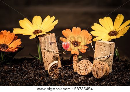 Wine Cork Figures, Concept Couple In Love With Flowers