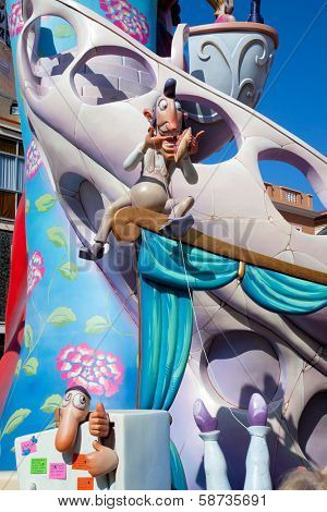 DENIA, ALICANTE, SPAIN - MARCH 18, 2012: Fallas is a popular fest with humor figures on streets that will burn in March 19 night in Valencia and also Denia in Valencia Province, Spain, March 2012.