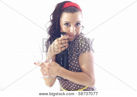 Women With Bottle And Glasses