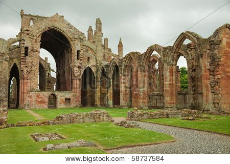 Melrose Abbey,  Scottish Borders, UK.  Melrose Abbey is a magnificent ruin on a grand scale with lavishly decorated masonry.