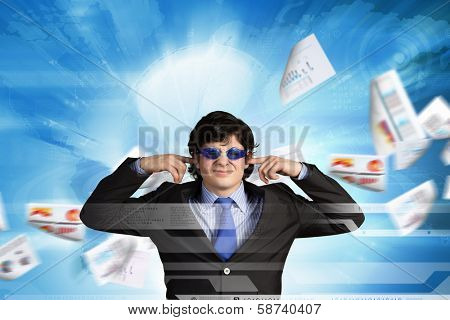 Image of businessman stopping his ears. Long working hours