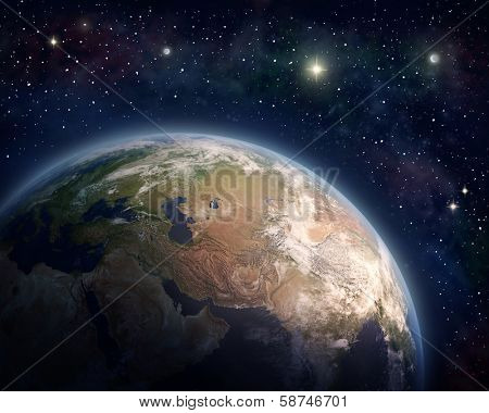 Planet Earth and stars (Nasa imagery)
