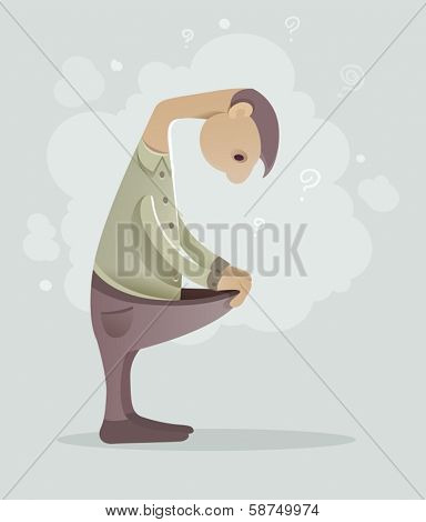 Sad man with sexual problems. Eps10 vector illustration