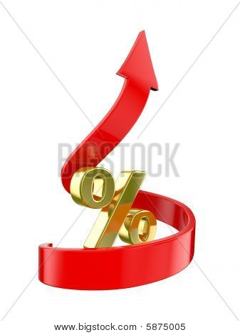 Percent Symbol  And Arrows Directed To Top
