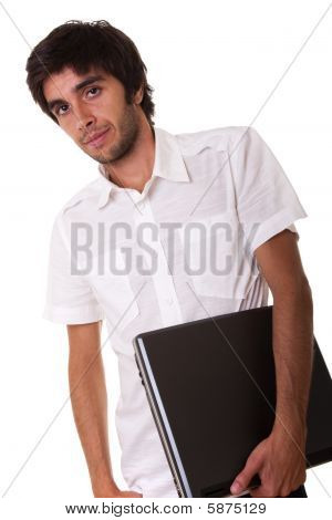 Man Holding A Laptop