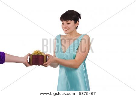 Woman Is Getting The Gift.