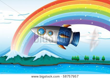 Illustration of a spaceship near the rainbow above the ocean