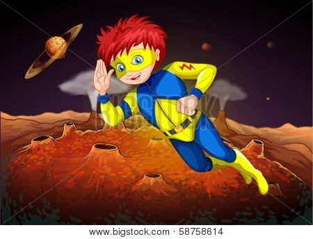 Illustration of an outerspace with a superhero