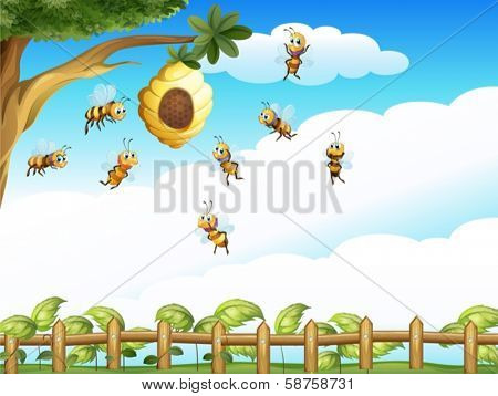 Illustration of a tree with a beehive and a group of bees