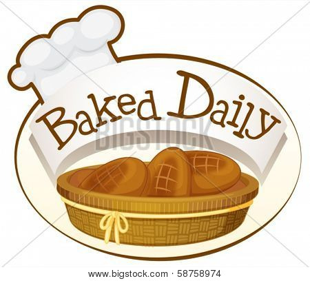 Illustration of a bakery label on a white background