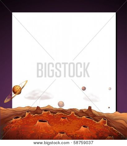 Illustration of a paper template with a view of the outerspace at the bottom