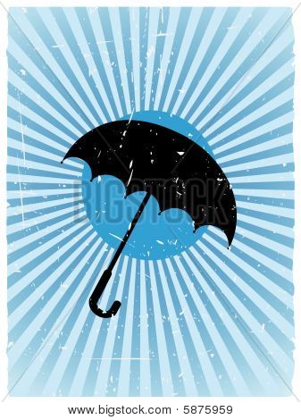 Umbrella Silhouette Ray Beam Grunge Vector Background