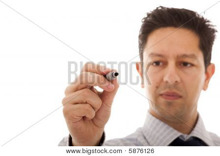 Businessman Writing At A Whiteboard