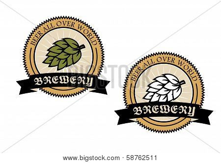 Two circular brewery labels