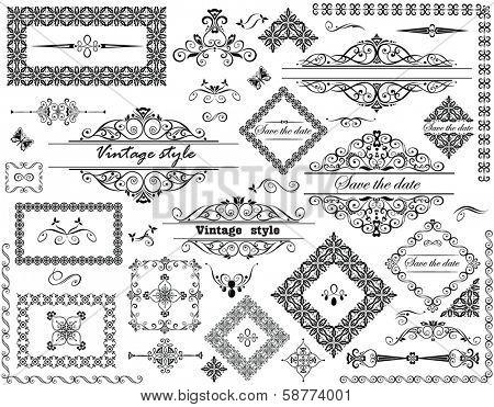 Vintage frames and decorative elements