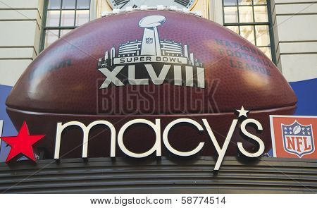 Giant Football at Macy s Herald Square on Broadway during Super Bowl XLVIII week in Manhattan