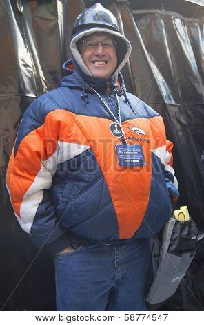 Unidentified Denver Broncos fan on Broadway during Super Bowl XLVIII week in Manhattan