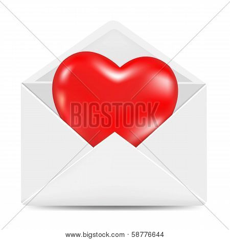 White Envelope With Red Heart