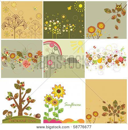 Set of autumnal abstract cards