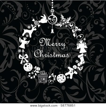 Xmas wreath (black and white)