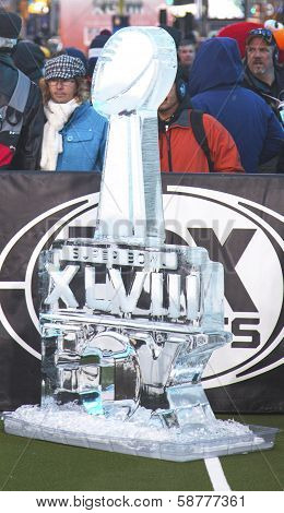 Ice carved Super Bowl XLVIII  logo presented on Broadway at Super Bowl XLVIII week in Manhattan