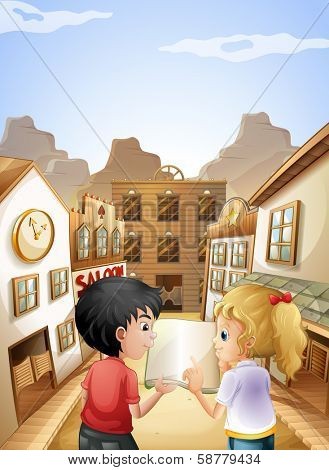 Illustration of a boy and a girl with an empty book talking near the saloon bars
