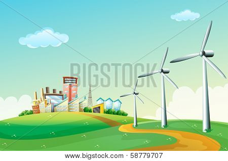 Illustration of the three windmills at the hilltop across the high buildings