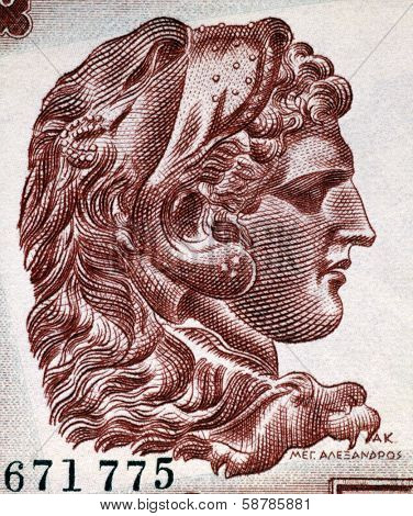 GREECE - CIRCA 1956: Alexander The Great (356-323BC) on 1000 Drachmai 1956 Banknote from Greece. Creator of one of the  largest empires of the ancient world while undefeated in battle.
